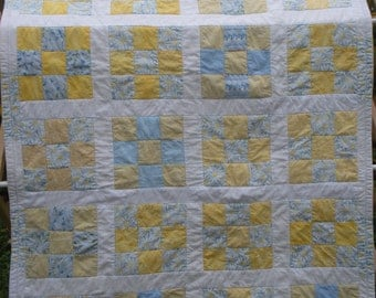 Yellow and Blue 9 patch baby quilt