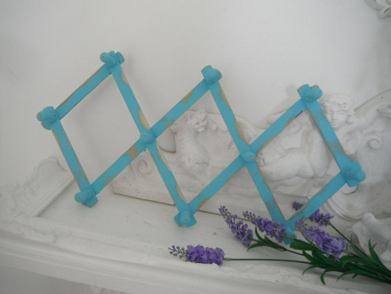 shabby chic turquoise wooden hooks jewelry holder peg hooks aqua accordian rack wood peg rack jewelry rack belt rack rustic