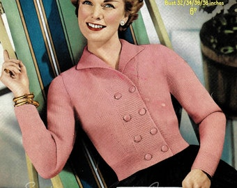 Sweetie - 1950s fitted shortie cardigan, 32-34-36-38 in bust - Vintage Knitting Pattern PDF (514) Sirdar 1628