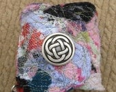 Bohemian Style Fiber Collage Cuff Bracelet   One of a Kind and Fabulous