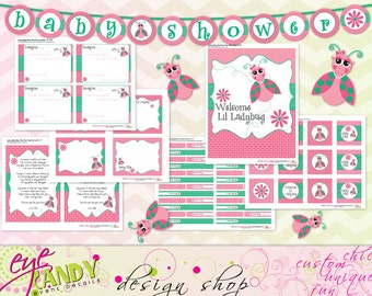 BABY SHOWER -Lil Ladybug Baby Girl Shower - Ladybug Baby Shower - Baby Girl Shower - Customized DIY Printable Party Pack