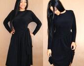 Vintage 80s dress / Little Black Dress / 80s Party Dress / Dolman Sleeve Dress / Small / Medium S / M