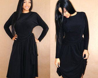 Vintage 80s dress / Little Black Dress / 80s Party Dress / Dolman Sleeve Dress / Small / Medium S / M