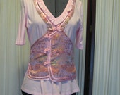 Reconstructed Recycled EcoFriendly Ladies' Top SS Size Medium Light Pink Embellished with Asian Oriental Ethnic Pink Multi Fabric