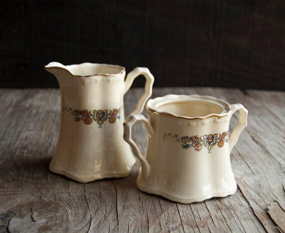 Creamer and Sugar Bowl Set - Vintage Crooksville