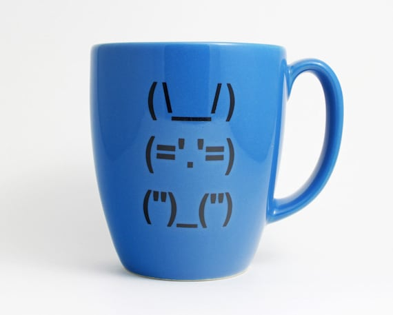 Ascii Bunny Rabbit Coffee Cup - Blue and Black with Computer Punctuation Bunny