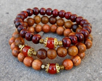 Stability, Carnelian guru bead, genuine rosewood prayer beads an bayong mala bracelet set