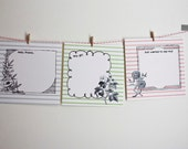 Striped Flat note cards, blank, set of 3, with hand drawn frames and vintage flower drawings, FREE SHIPPING until Nov. 20
