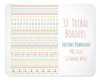 Tribal Design Elements - Borders - Coral Pink Mint Gray Yellow  Instant Download - Free Clipart w order
