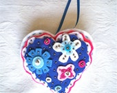 "Christmas, Ornament, Heart, Handmade, Blue,  Felt, Sequins, OOAK, 4 1/2"" x 4 3/4"", 1 ornament, White, Pink"