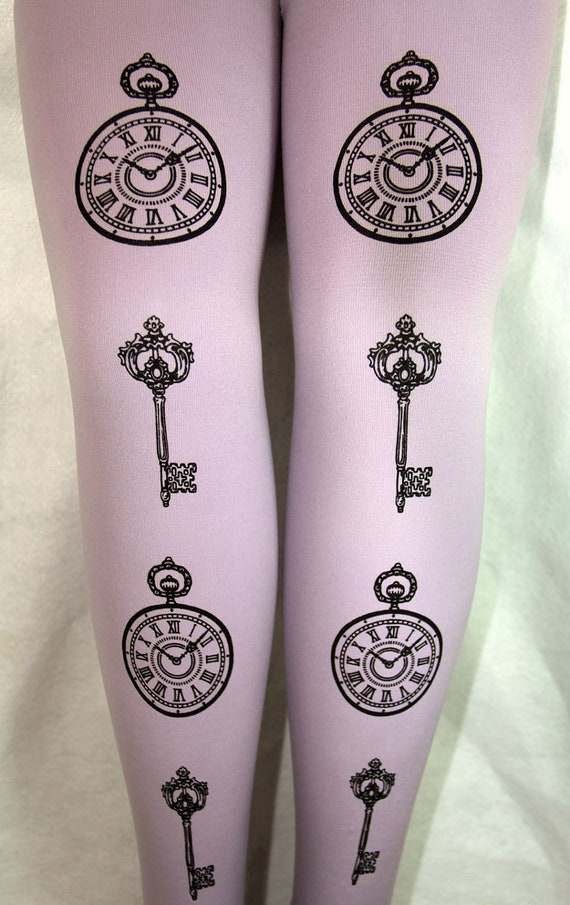 Pocket-Watch & Keys Printed Tights Large Black Pearl on Lavender Lilac Pastel Purple Womens Victorian Gothic Lolita Steampunk Print