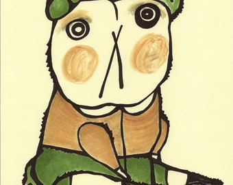 Charming School Boy Bear in Camel Hair Sweater and Pea Green Knickers: Original Marker Drawing