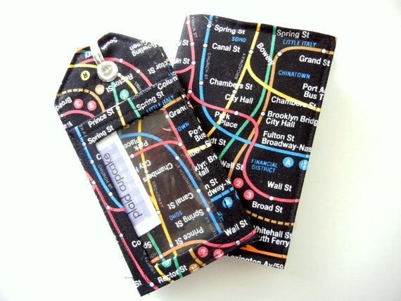 Luggage Tag & Passport Sleeve in New York City Subway MADE TO ORDER