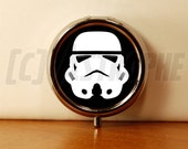 Stormtrooper Design Pill Case - Silver 1 Compartment Pill Mint Candy Box - Purse Accessory - Star Wars