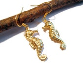 Brass Seahorse Earrings