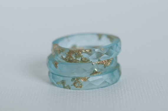 soft blue with gold metal multifaceted eco resin ring - size 8