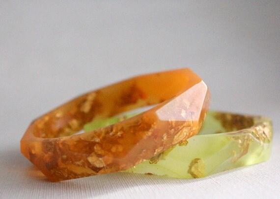 burnt orange with gold flakes eco resin faceted bracelet bangle