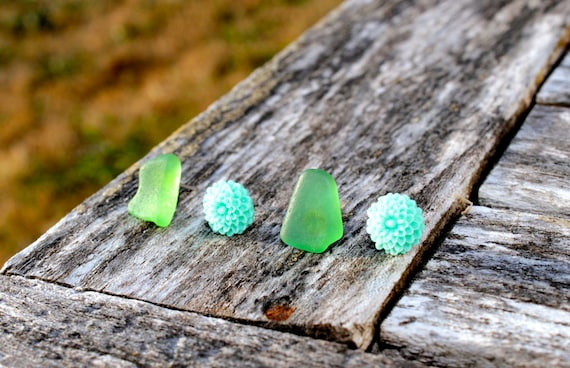 Sea Foam for a Mermaid. Aqua Floral Studs and British Columbia Sea Glass. White Gold and Beaches.