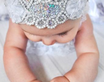 GLAM--Silver & White Sequin Flower Headband