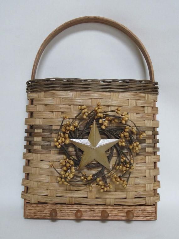 wall basket key basket mail basket handwoven basket. Black Bedroom Furniture Sets. Home Design Ideas