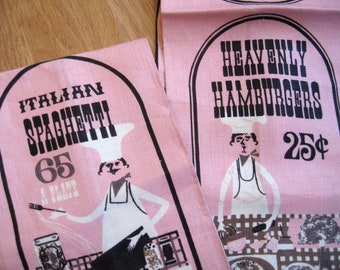 Italian hamburgers and heavenly spaghetti. Pair of signed Sewell Jackson linen kitchen towels, excellent condition. Never used. Townhouse.