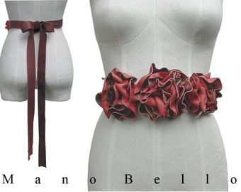 Boho wedding sash - leather flowers belt - Bohemian Leather Flower Harness Belt - Fashion Accessories -  Coral & Acorn Brown small, in stock
