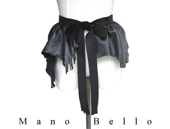 Leather Peplum or Steampunk Bustle Belt Gray & Gothic Black Leather Layering Piece in stock