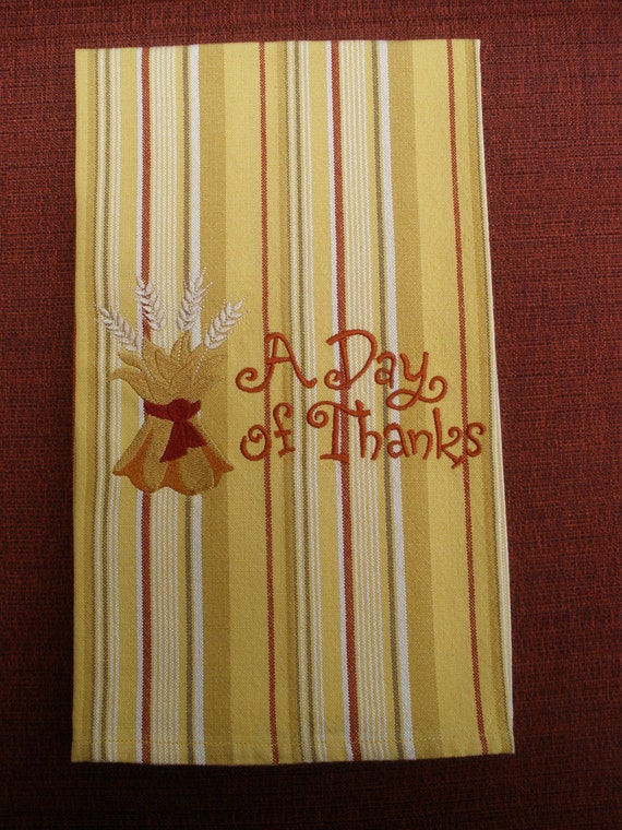 A Day of Thanks Embroidered Towel