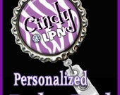 Personalized retractable badge reel with pinch clip..nurse..teacher..lpn..rn..md..id holder..lanyard..bottlecap jewelry