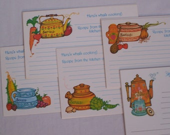 Vintage Recipe Cards x10 Sweet Unused Current Here's What's Cooking...