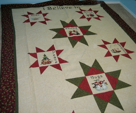 Reserved for Jerri Nunley FREE SHIPPING I Believe In Christmas Star Quilt