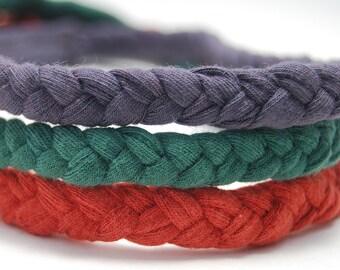 Upcycled Braided Headband - Eco Friendly -  Organic Clothing - Set of Three - Several Colors - Fall