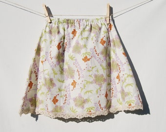 Eco Friendly - A Line Skirt  - Girls -  Floral Print with Lace - Organic Cotton - SALE - Ready to Ship