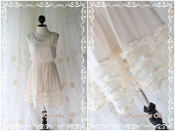 Lady Princess - Sweet Lovely Pastel Dusty Soft Cream Sundress Sleeveless Simply Style See Through Flower Hemmed XS-S