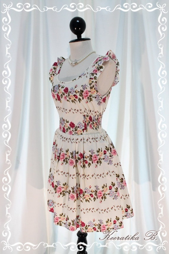 Nature Floral Garden - Sweet Beautiful Sundress Off White With Gorgeous Floral Print Loose Elastic Waist