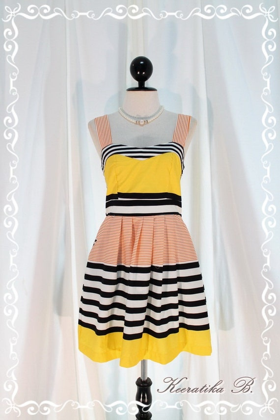 Stripe Cotton Dress - Luxury Whimsical Strip Dress Cocktail Dinner Party Wedding Bridesmaid Dress