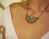 Macrame necklace with hand forged hamered wire and gemstone beads in turquoise brown