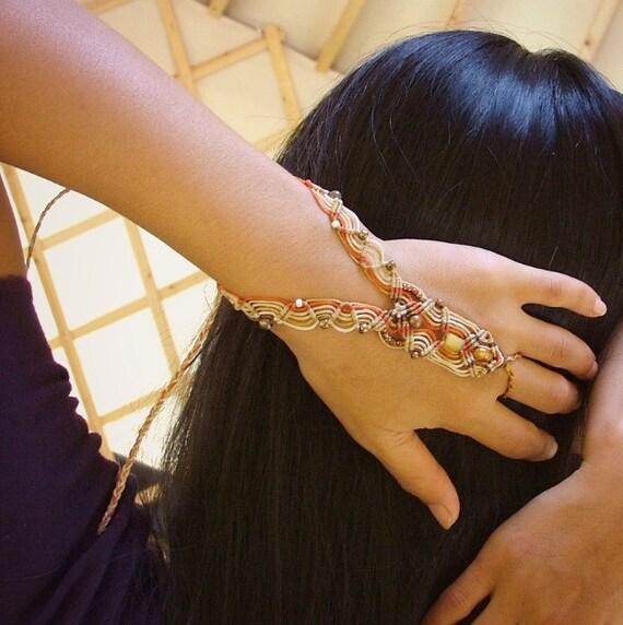 Desert song SUMMER MACRAME ANKLET barefooot sandal and bracelet beaded for you - you sexy goddess