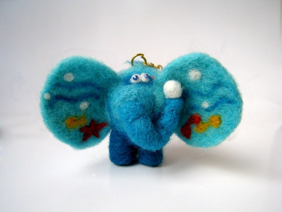 Turquoise sea elephant with a key ring - needlefelted sculpture