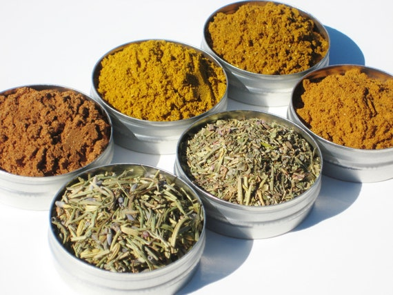 World Spice Kit - 6 exotic herbs & spices - recipe included - DIY gift for someone who has everything and loves to cook