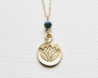 Gold & Sapphire Lotus Necklace, Gold Lotus Flower Necklace, Gold Lotus Pendant, Lotus Charm Necklace, Sapphire Necklace, Yoga Jewelry