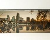 "PHOTO Block ' MINNEAPOLIS FALL '  Mini Art Photo of a the Minneapolis Skyline 6"" x 2.5"" x .75"""