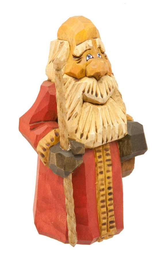Hand Carved Wooden Santa in Red Robe and Natural Trim with Bag and Walking Stick