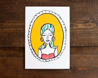 Funky illustration - 5 x 7 print - pretty lady - fashion illustration - mod lady