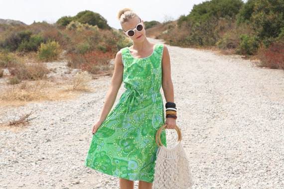 VTG 1960s 60s Lime Green Butterfly Print House Dress w/ Waist Tie M