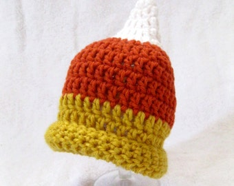 Candy Corn Halloween Newborn Baby Beanie Hat - Made to Order Baby Accessories by Julian Bean