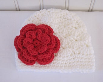 Crochet Girls Hat - Baby Hat - Toddler Hat - Winter Hat - Newborn Hat - Christmas Hat - White with Red Flower - in sizes Newborn to 3 Years