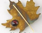 Maple Leaf Pin Brooch, Garnet Patina Sterling Silver Maple Leaf Pin, January Birthstone, Canada Maple Leaf, 14 Karat Goldfill