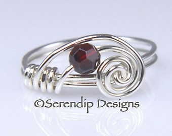 Petite Swarovski Crystal and Argentium Sterling Silver Birthstone Ring  R-CBS4