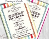 Ice Cream Party Invitations, Printable Custom Invitations by Cutie Putti Paperie